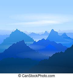 majestuoso, montañas azules