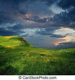 majestuoso, nubes, borde, meseta, cielo, montaña