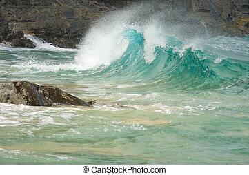 majestuoso, ondas, rocas