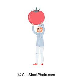 majetek, karikatura, vrchní kuchař, big, červeň, -, up, manželka, ilustrace, vektor, rajče