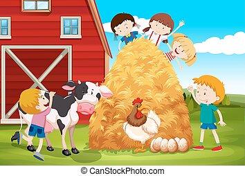 major állat, játék, gyerekek