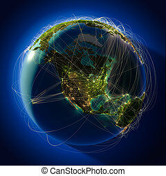 Major global aviation routes on the globe