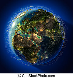 Major global aviation routes on the globe - Highly detailed...