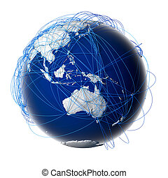 Earth with relief stylized continents surrounded by a wired network, symbolizing the world aviation traffic, which is based on real data on the carriage of passengers and flight directions. Isolated on white