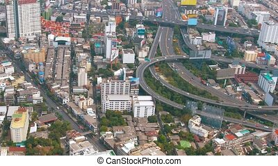 Major Highway Interchange in Downtown Bangkok, Thailand, from above