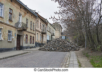 Major paving stone. street repair in Lviv