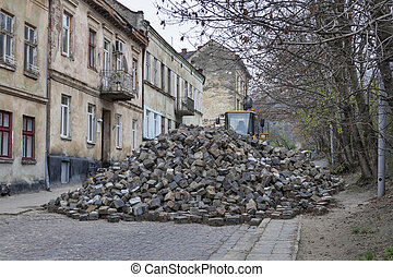 Major paving stone	street repair in Lviv
