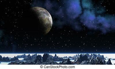 Major planet against a fantastic la