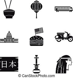 Major religion icons set, simple style