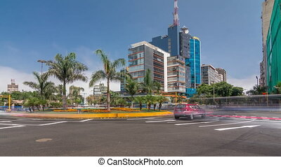 Major road intersection on Plaza Grau square with traffic ...