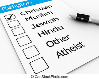 major world religions - Christian, Muslim, Jewish, Hindu, Atheist, Other