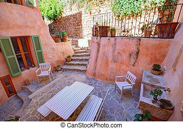 majorca, balearic, 房子, 院子, 在, 巴利阿里群島