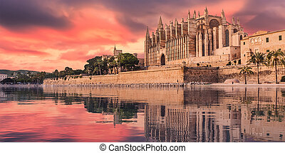 Majorca cathedral - 3d illustration of the cathedral of...