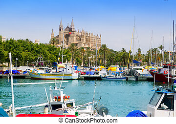 Majorca la Seu cathedral view from marina port of Palma de...