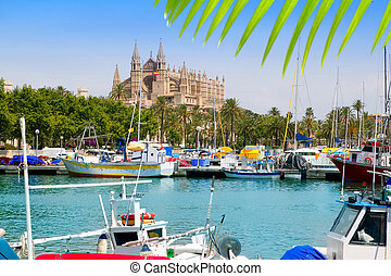 Majorca la Seu cathedral view from marina port of Palma