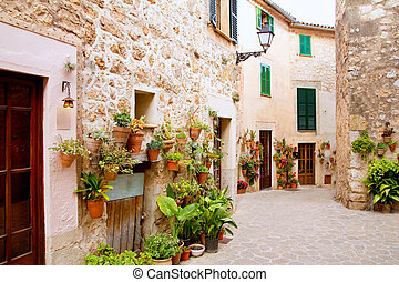 Majorca Valldemossa typical with flower pots in facade -...