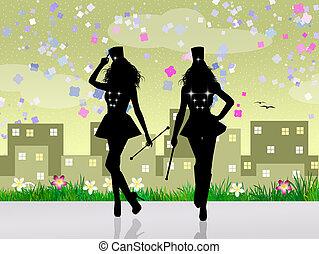 Majorette silhouette - illustration of majorette silhouette