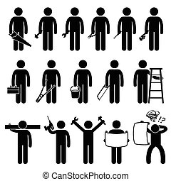 majster do wszystkiego, pracownik, używając, diy, pracować instrument