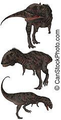 Majungasaurus lived in Madagascar - isolated on white