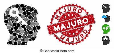 majuro, cabeza, icono, sello, textured, llave, collage