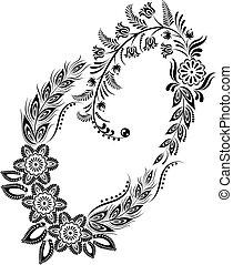 majuscule, monogram, o, floral, lettre