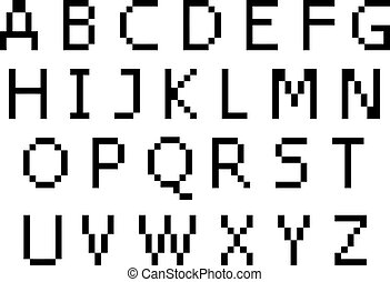 majuscule, police, -, pixel, caractères