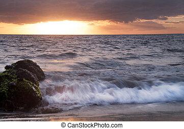 makapu, playa, ocaso, maui, hawai