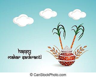 Makar Sankranti background - Illustration of elements for ...