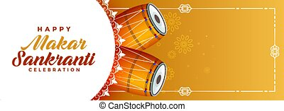 makar sankranti celebration banner with text space