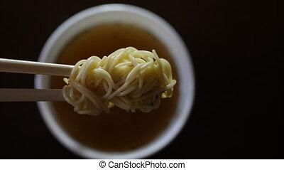 makarony, chwila, zamknięcie, ramen, chińczyk chopsticks, ...