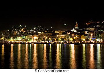 Makarska, Croatia - Makarska at night