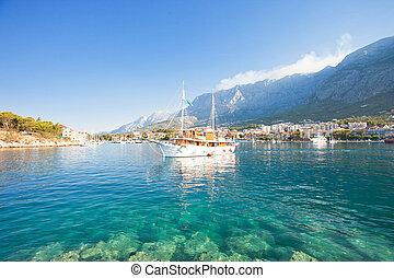 makarska, dalmatien, kroatien, -, a, touristic, party, boot, abgang, der, porto , von, makarska