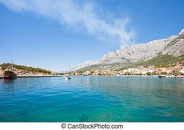 makarska, dalmatien, kroatien, -, eindrucksvoll, ansicht, über, der, bucht, von, makarska