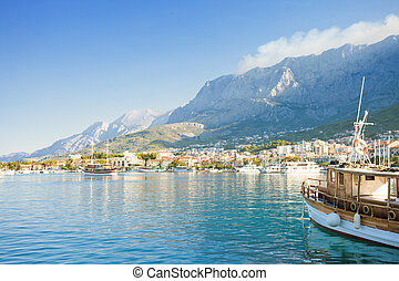 makarska, dalmatien, kroatien, -, einstellung, segel, von, der, porto , von, makarska
