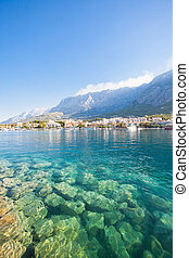 makarska, dalmatien, kroatien, -, netto wasser, von, mittelmeer meer, an, makarska