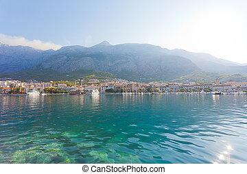 makarska, dalmatien, kroatien, -, skyline, von, makarska,...