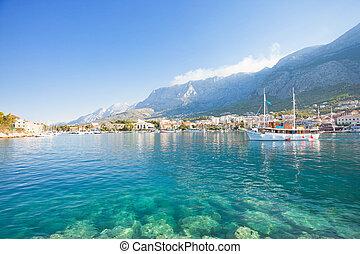 makarska, dalmatien, kroatien, -, türkis, wasser, an, der, wunderbar, sandstrand, von, makarska