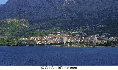 Makarska residental area - Panorama of the city of Makarska ...