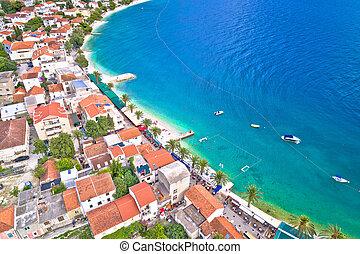 Makarska riviera turquoise beach aerial view, Dalmata region...