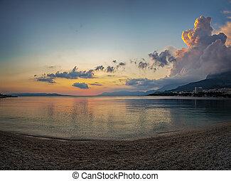 Makarska sunset beach - Beach at sunset in Makarska, Croatia...