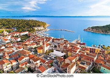 Makarska. Tourist city of Makarska waterfront aerial view, ...