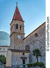 makarska, zentrieren, historisch, kroatien, kirche, mittelalterlich