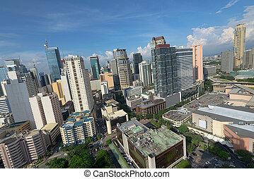 makati, perfil de ciudad, en, manila, filipinas.