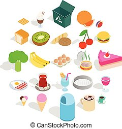 Make a breakfast icons set, isometric style