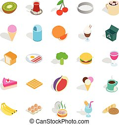 Make a breakfast icons set, isometric style - Make a...