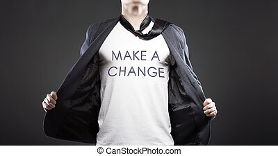 Make a change, young successful businessman