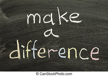 make a difference phrase handwritten on blackboard