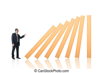 Make a domino effect, concept of dangerous, trouble,...