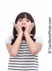 Make a face shock, surprise, incredible. - Little asian girl...