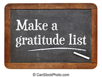 Make a gratitude list on blackboard